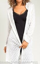 White Long Sleeve Open Crochet Hooded/Hoodie Tunic Sweater Cardigan/Wrap/Cover
