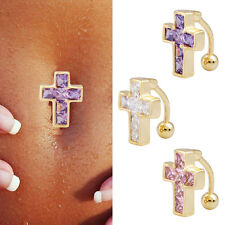 Crystal Bar Belly Ring 18K Gold Plated Cross Reverse Piercing Button Navel Gift