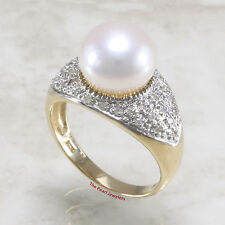 14k Yellow Gold AAA 10-10.5mm White Cultured Pearl & Diamond Cocktail Ring