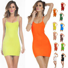 HOT Women Stretchy Camisole Spaghetti Strap Long Tank Top Layering Mini Dress