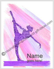 PERSONALIZED NAME GYMNASTICS GYMNAST PICTURES WALL ART DECOR POSTER GIRLS PRINT