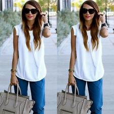 Sexy Women Ladies Summer Fashion Sleeveless White Chiffon Blouse Tops T shirt