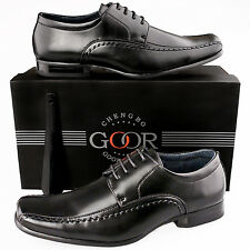 Mens New Formal Smart Office Wedding Black Lace Up Gibson Shoes 6 7 8 9 10 11 12