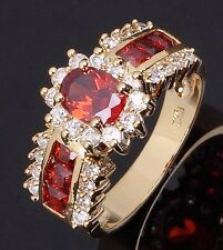 Fashion Halo Size 7,8,9,10,11 Red Garnet 10KT Gold Filled Rings For Womens Gift