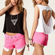 New Sexy Hollow Backless Short T-Shirt Tops Crop Loose Baggy Vest Tank Blouse