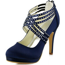 EP11085 Navy Blue Satin Rhinestones High Heel Platform Evening Party Court Shoes