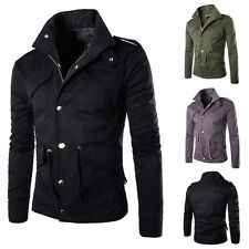 Cool Men's Military Style Fit Slim Stand Collar Coat Jacket Zip Button Overcoat