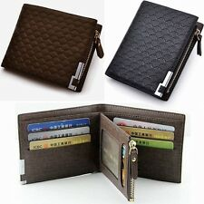 Fashion Mens Luxury Soft Black Quality Leather Wallet Credit Card Holder Purse