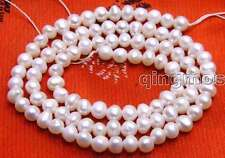 """SALE small 4-5mm Natural white Freshwater round  Pearl Loose Bead 14""""-lo636"""