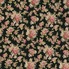 RJR Robyn Pandolph World of Romance Shabby Small Floral Black Pink Rose Fabric