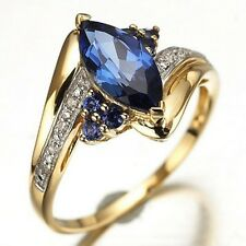 Bridal Size 6,7,8,9,10,11,12 Woman's Blue Sapphire 10KT Gold Filled Wedding Ring