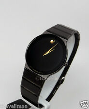 Mens Authentic Swiss Movado Black Ion PVD Sapphire Very Thin Museum Dial Watch