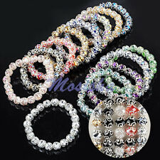 Womens Colors Crystal Glass Faceted Flower Beads Elastic Bracelet Bangle Jewelry