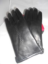 New Ladies Plush Genuine Rabbit Fur Lined Soft Leather Gloves,Black