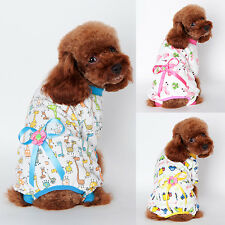 Small Pet Dogs Cartoon Bowknot Pajamas Coat Cat Puppy Clothes Clothing Jumpsuits