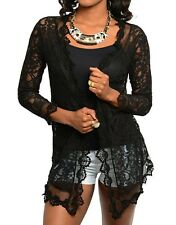 Black Mesh Lace Long Sleeve Open Front Tunic Cardigan/Cover-Up S/M