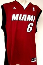 NEW Mens ADIDAS LeBron James #6 Miami HEAT Red Black NBA Revolution Jersey
