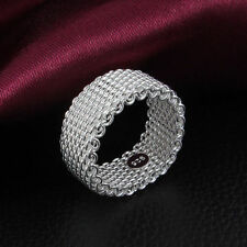 New Women Fashion Net Woven Ring 925 Sterling Silver Plated Jewelry Size US 6-10