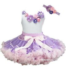 Lavender Pink Extra Full Pettiskirt Tutu Flower Girl Birthday Party Dress 3pcs