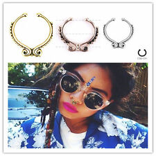 Retro U Shape Body Jewerly Fake Septum Clicker Non Piercing Nose Ring Hoop Clip