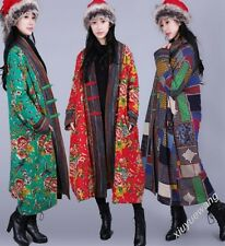 A67 Chinese Folk Manual Button Women's Long Floral Quilted Coat Jacket Outwear