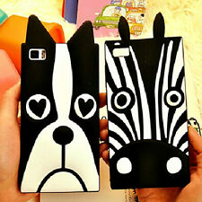 3D Zebra Dog Cartoon Silicone Gel Rubber Soft Black Case Cover For Mobile Phone
