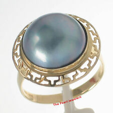 14k Solid Yellow Gold Greek Key Design 13-14mm Blue Mabe Pearl Wrap Ring TPJ