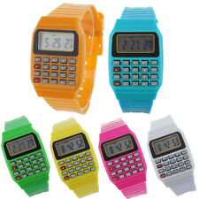 Unsex Silicone Multi-Function Date Time Electronic Wrist Calculator Kids Watch