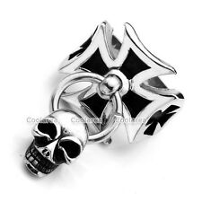 MENS Gothic Punk 316L Stainless Steel Iron Celtic Cross Skull Dangle Biker Ring