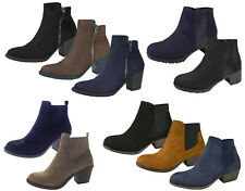 Womens Chunky Block Heel Chelsea Ankle Boots Faux Suede Shoes Girls Size UK 4-8