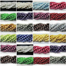 100Pcs Top Quality Charms Czech Glass Pearl Round Findings Beads 4/6/8/10/12mm