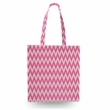 Neon Pink Chevron Canvas Tote Bag - 16x16 inch Book Gym Bag Optional Zip