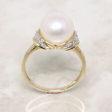 14k Solid Yellow Gold Genuine AAA White Cultured Pearl Diamonds Cocktail Ring