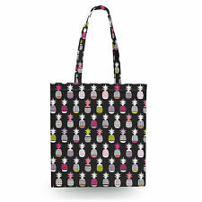 Neon Pineapples Canvas Tote Bag - 16x16 inch Book Gym Bag Optional Zip