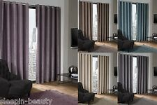 EYELET RING TOP CHENILLE SUEDE LOOK LOGAN PLAIN BLACKOUT CURTAINS THERMAL LINED