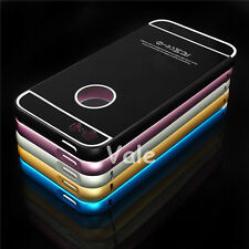 Luxury Aluminum Metal Frame Bumper + Acrylic PC Back Case Cover For Apple iPhone