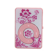 Mini Clip Vintage Flower Pattern MP3 Player Music Media Support Micro SD TF Card
