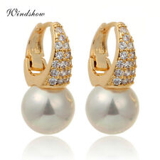 18K Gold Filled Pearl Pave CZ Huggie Hoop Earrings Womens Jewelry