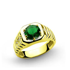 Men's Ring REAL 10k Solid Yellow Gold with 2.40 ct Emerald 0.03ct DIAMONDS 69544