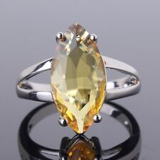 Solitaire pear Yellow Sapphire birthday ring! 18k white gold filled SZ6-SZ10