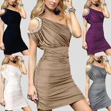 Grecian Asymmetric One Shoulder Ruched Pearl Cocktail Party Evening Short Dress