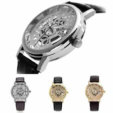 Fashion Skeleton Carve Ultra Thin Dial Leather Mens Analog Quartz Wrist Watch