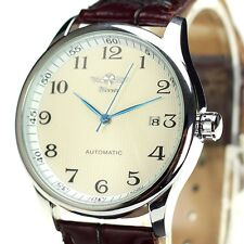 Classic Automatic Mechanical DATE Stailess Steel Leather Mens Analog Wrist Watch