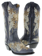 Women's Denim Blue Wings Heart Western Leather Cowboy Cowgirl Boots Rodeo Riding