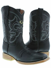 Women's Black Mid Calf Leather Western Cowboy Boots Ankle Short Square Rodeo New