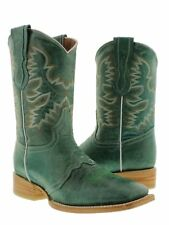 Womens Turquoise Green Mid Calf Leather Western Cowboy Boots Ankle Square Rodeo