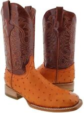 mens leather ostrich quill cowboy boots  western crocodile square cognac brown
