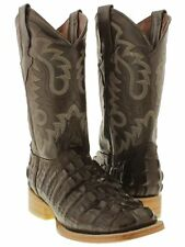 mens brown crocodile alligator square western cowboy boots leather tail cut