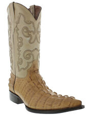 Mens Beige Alligator Crocodile Tail Leather Western Cowboy Boots Exotic Pointed