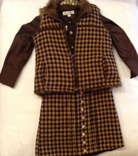 EUC Trish Scully 3 pc set cocoa checkerboard vest blouse skirt girls sz 4T/4